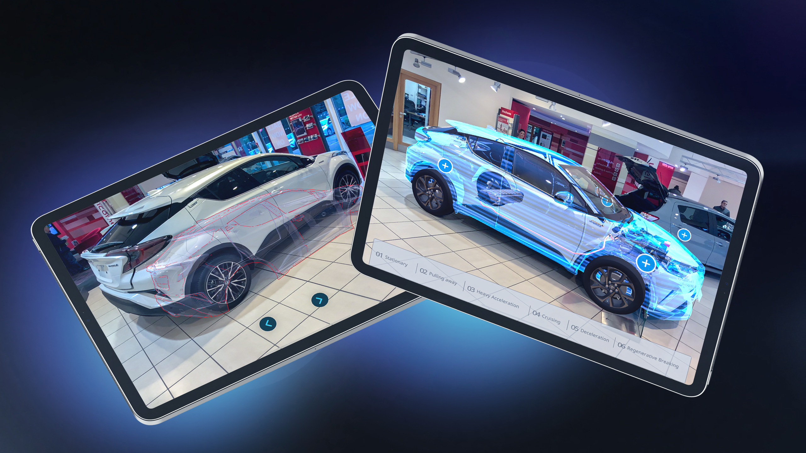 Augmented reality car shown on iPad