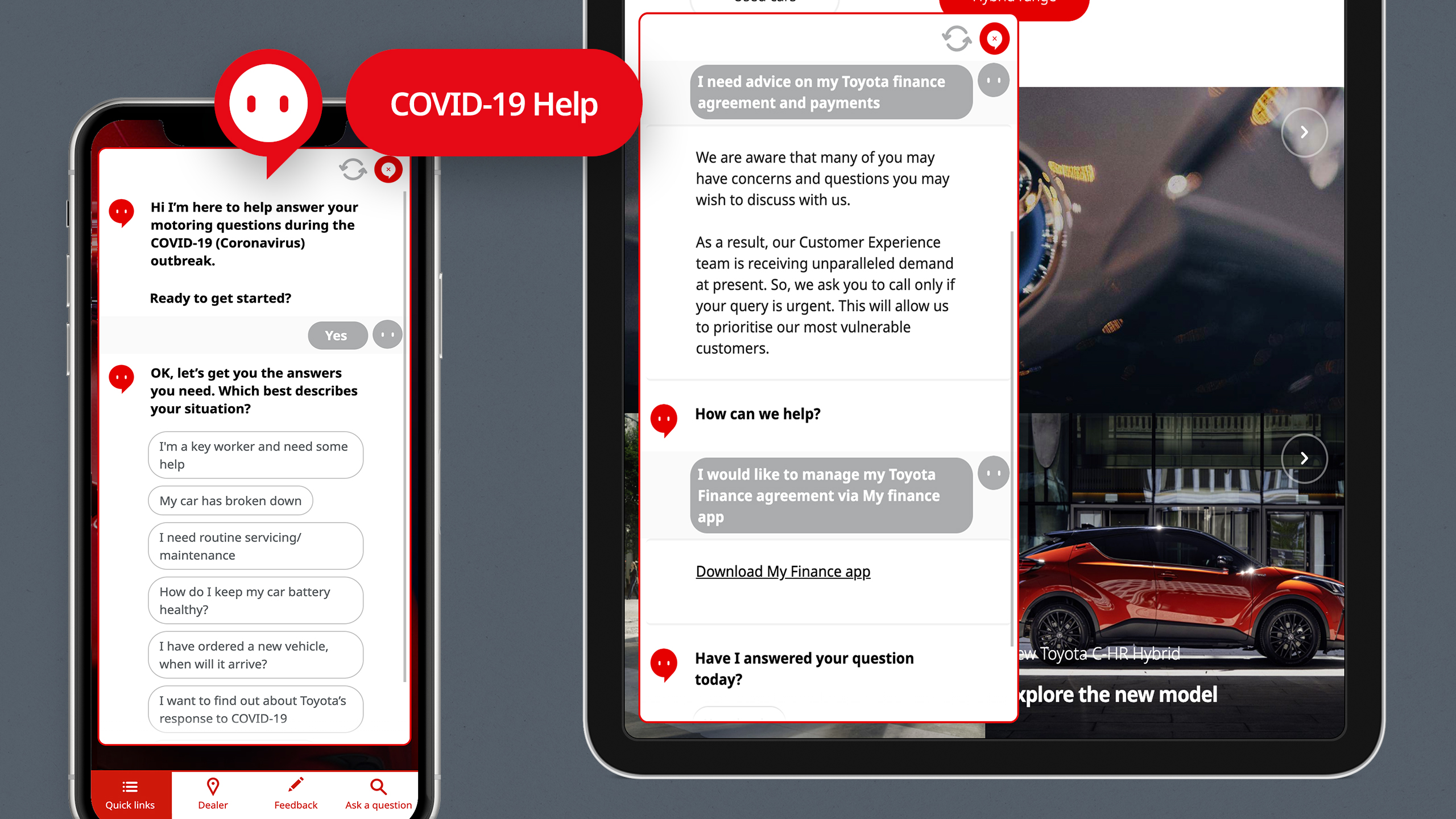 Toyota chatbot screens